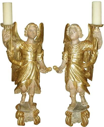 An Extremely Rare 18th Century Pair of Polychrome and Parcel-Gilt Archangels No. 3646