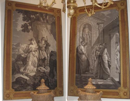 A Pair of 18th Century Neoclassical Ink on Paper Theatrical Panels No. 3645