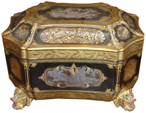 A 19th Century Shaped Octagonal Chinese Export Chinoiserie Tea Caddy No. 3503
