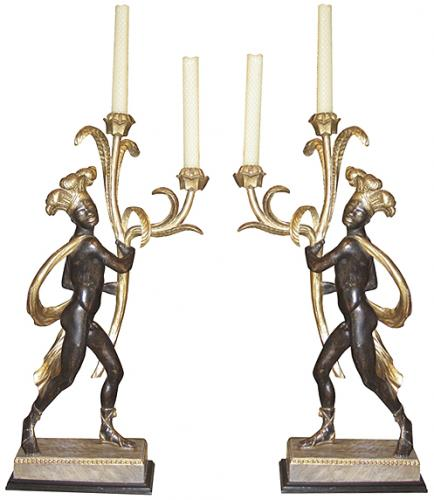 An Extraordinary Pair of 18th Century Italian Polychrome and Parcel-Gilt Blackamoor Candelabras No. 3693