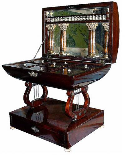 A Rare 1840 Italian Empire Mahogany Sewing Box No. 2717
