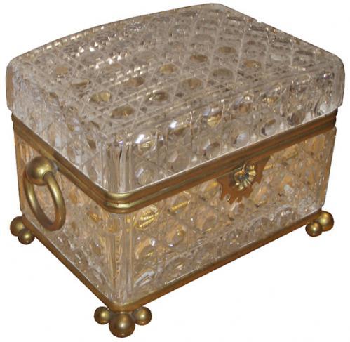A 19th Century Cut Crystal Parfum Box No. 3727