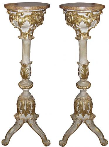 A Pair of Parcel-Gilt and Polychrome Venetian Candle Stands No. 3750