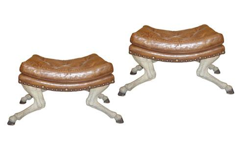 An Unusual Pair of 18th Century Cavallo Zoccolo Polychrome Benches No. 3747