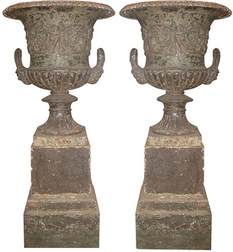 A Pair of English 18th Century Iron Borghese Urns No. 3746