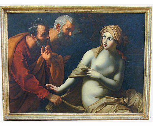 A Splendid 17th Century Italian Oil on Canvas of Susannah and the Elders No. 2360