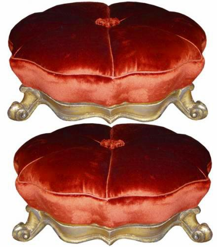 A Pair 19th Century Italian Giltwood Foot Stools No. 3760