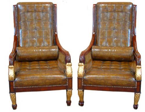 An Unusual Harlequin Pair of Italian Empire Mahogany and Parcel-Gilt Armchairs No. 2480