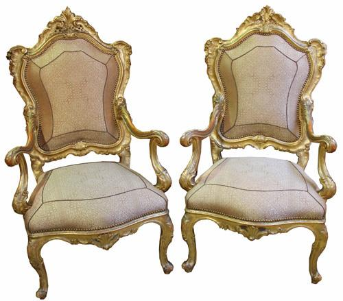 A Regal Pair of 18th Century Carved Giltwood Italian Louis XV Armchairs No. 3767