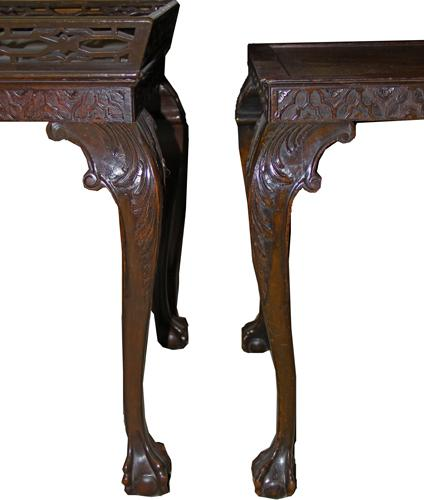 A Pair of 18th Century Georgian and Later Chinese Chippendale Mahogany Side Tables No. 3788