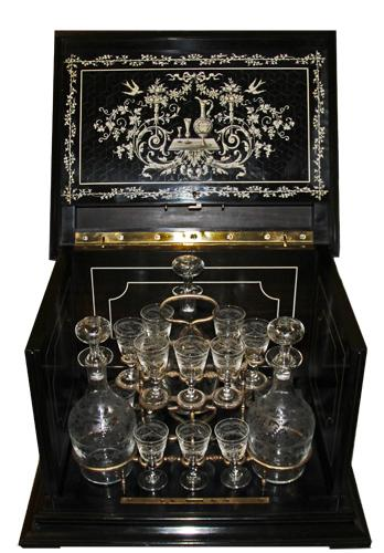 A Magnificent 18th Century Italian Ebony and Bone Cave à Liqueur No. 3805