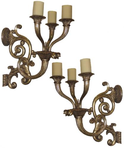 A Pair of 19th Century Italian Giltwood Sconces No. 3826
