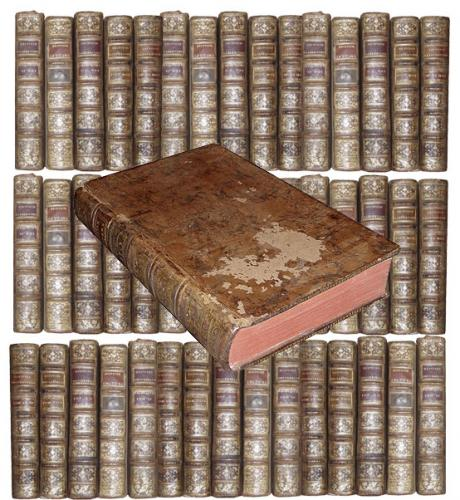 A Grouping of Sixty-Four 18th Century French Leather Bound Books No. 3824