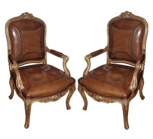 A Pair of 18th Century Italian Louis XV Giltwood Armchairs No. 3881