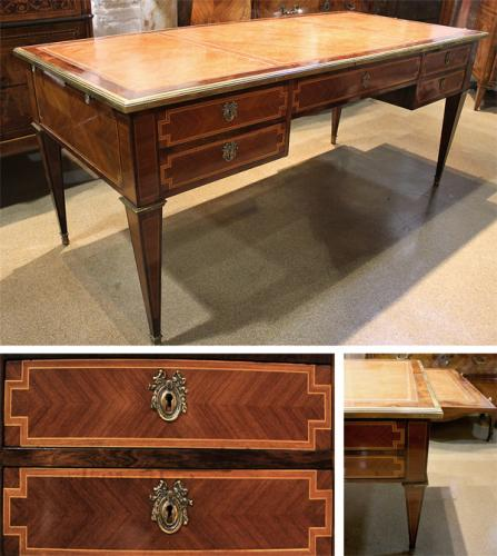 A 19th Century French Louis XVI Rosewood and Satinwood Parquetry Bureau Plat No. 3939
