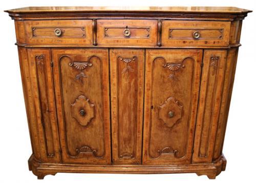 An 18th Century Baroque Tuscan Walnut Credenza No. 4020