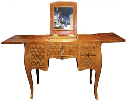 A Louis XV Parisian Amaranth (Purpleheart) and Tulipwood Parquetry Poudreuse Mechanique Dressing Table No. 4006