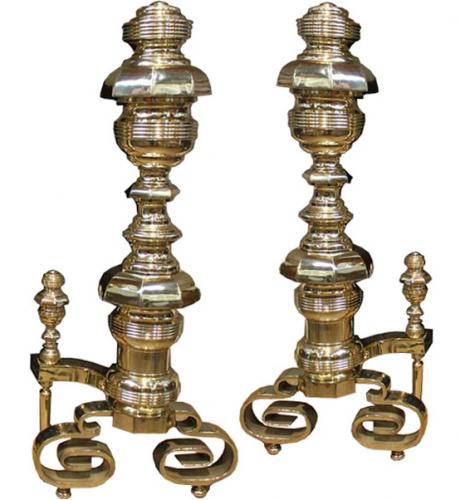A Pair of Palazzo Scaled 19th Century Solid Brass Andirons No. 4015