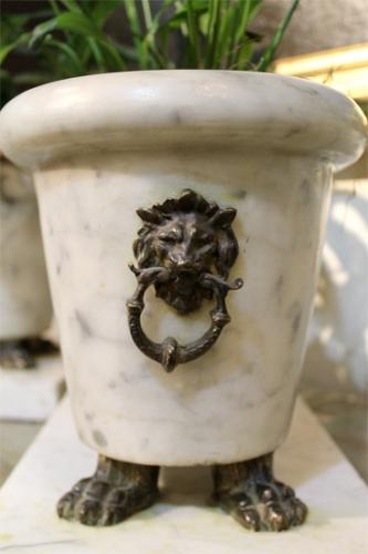 A Pair of 19th Century Roman Marble Plant Stands No. 219