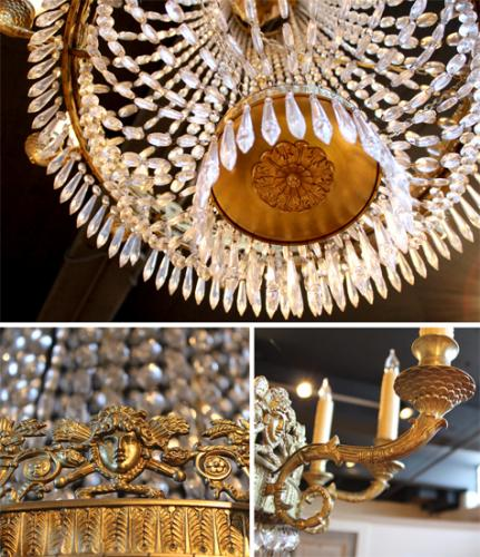 A First Quarter 19th Century Italian Empire Crystal and Gilt 12-Light Chandelier No. 4047