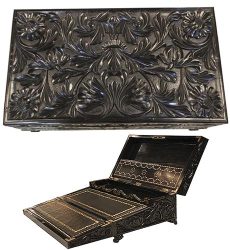 A 19th Century Anglo-Indian Solid Ebony Lap Desk No. 4091