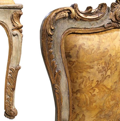 A Pair of Italian Louis XV 18th Century Venetian Polychrome and Parcel-Gilt Fauteuil Armchairs No. 4092