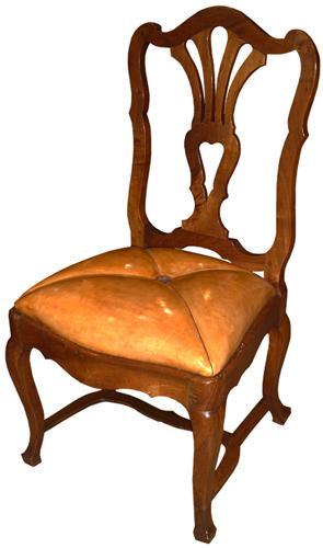 A Rare Set of Fourteen 18th Century Italian Louis XV Walnut Side Chairs No. 3056