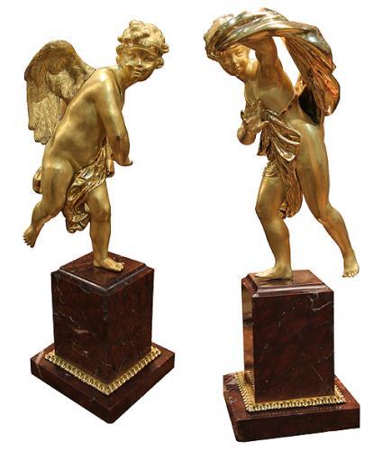 A Pair of 19th Century Italian Bronze Doré Playful Putti No. 4136