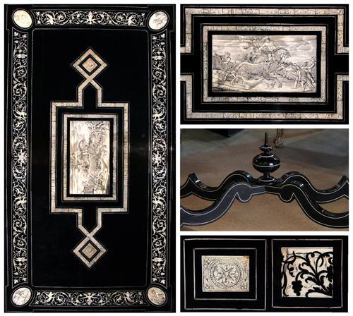 A 19th Century Florentine Ebony and Inlaid Bone Salon Table 4174