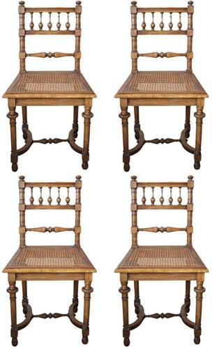 A Set of Four 19th Century English Turned Elmwood Slat-Back Chairs No. 4204