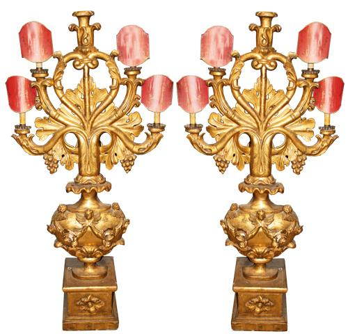 A Pair of 18th Century Giltwood Venetian Seven Foot Tall Girandole Wall Lights No. 4273