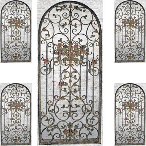 A Set of Four 19th Italian Polychrome and Iron Gates No. 4127