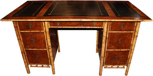 An Exotic 19th Century English Import Bamboo and Walnut Pedestal Desk No. 4258