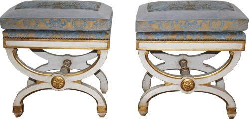 A Sophisticated Pair of 19th Century Italian Polychrome and Parcel-Gilt Curule Benches No. 4279