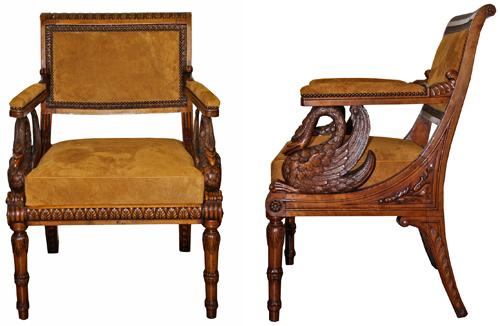 An Unusual 19th Century Italian Empire Walnut Armchair No. 4263