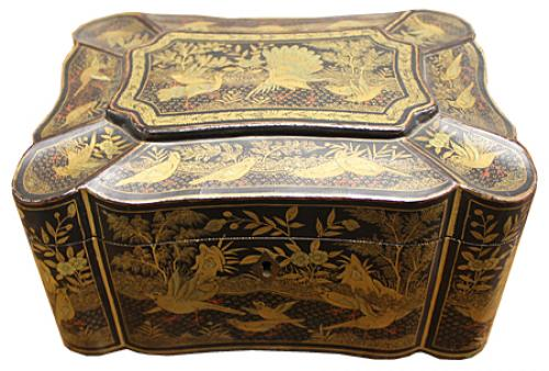 Early 19th Century Chinese Black Lacquer Tea Caddy No. 4214