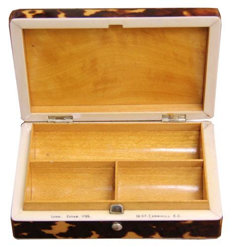 A Late 19th Century English Lund Tortoiseshell Box No. 4228