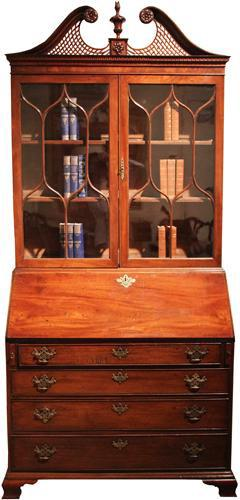 A Late 18th Century English George III Mahogany Bureau Bookcase No. 4267