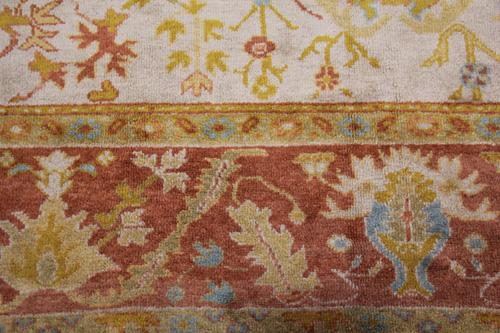 A Late 19th Century Turkish Oushak Wool Rug No. 4336