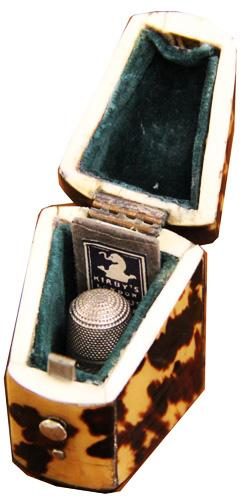 An Early to Mid 19th Century Tortoiseshell Thimble Case No. 4229