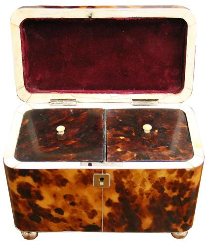A 19th Century Diminutive Tortoiseshell Tea Caddy No. 4346