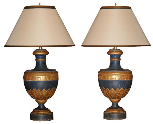 A Pair of 19th Century Giltwood and Blue Polychrome Urn Lamps No. 4402