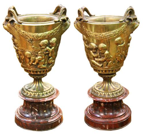 A Pair of 19th Century Italian Brass Ceremonial Cups No. 4396