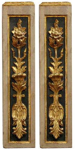 A Pair of 18th Century Parcel-Gilt Polychrome Italian Wall Appliqués No. 4428