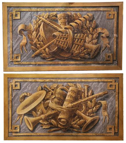 A Pair of 19th Century Italian Oil on Canvas Wall Hangings No. 4429