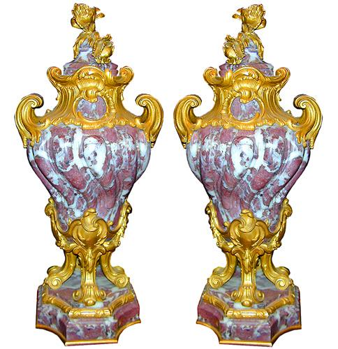 A Pair of Italian Louis XIV Style Rouge and White Marble Urns No. 123