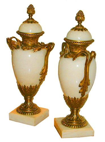 A Graceful Pair of 19th Century Ormolu-Mounted Bianco Buca Marble Urns No. 2447