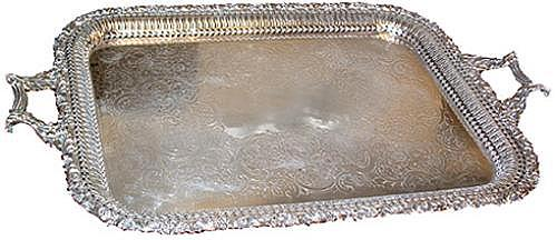 A Handsome 19th Century Rectangular Silvered Serving Tray No. 2428