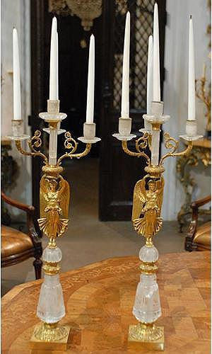 A 19th Century Pair of French Empire Gilt- Bronze Four-Light Winged Figural Candelabras No. 1032