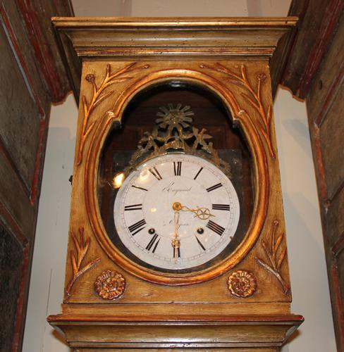 An 18th Century Normandy Polychrome and Parcel-Gilt Ashwood French Tall Case Clock No. 783
